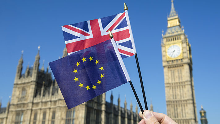 EU and Union Jack flags flying at Parliament